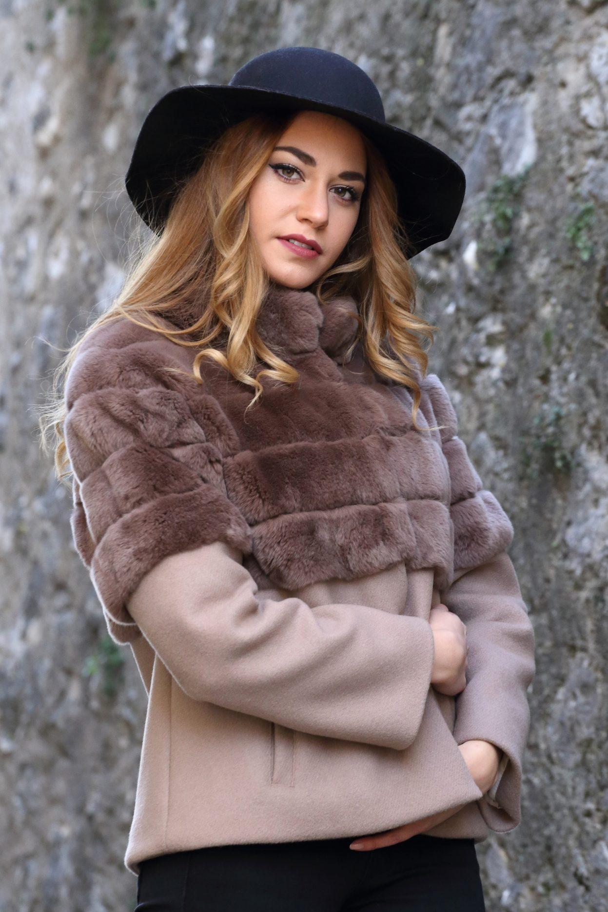 buy popular 4a160 f10af giacca in lana e pelliccia