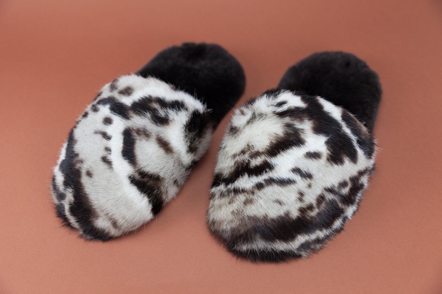 Pantofole in pelliccia di lapin stampa animalier