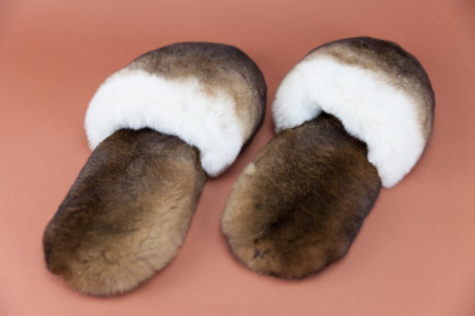 Pantofole in pelliccia di orylag marrone